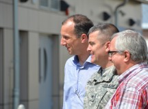 ILLESHEIM, Germany (June 16, 2015) -- From left, Bad Windsheim Mayor Bernhard Kisch, U.S. Army Garrison Ansbach commander Col. Christopher M. Benson, and Illesheim Mayor Heinrich Förster attend a walking tour of Storck Barracks. Several local government officials and members of their families from the towns of Bad Windsheim and Illesheim and a member of the press visited USAG Ansbach's Storck Barracks Friday. (U.S. Army photo by Bryan Gatchell, USAG Ansbach Public Affairs)