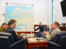 WIESBADEN, Germany -- Lt. Gen. Ben Hodges, right, commanding general of U.S. Army Europe, welcomes Parliamentary State Secretary Dr. Ralf Brauksiepe, left, from the German Ministry of Defense here June 22 for an office call.