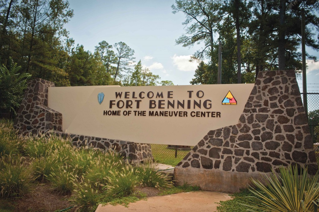 "The ""Stone Gate"" on Benning Road, Fort Benning, Georgia. The Army announced July 9, 2015 that by the end of fiscal year 2018, the active Army expects to have drawn down in size from 490,000 to 450,000. Army officials also said the service will shrink the size of several brigade combat teams and will cut 17,000 civilian employees. At Fort Benning Georgia, the 3rd Brigade Combat Team, 3rd Infantry Division, will convert to a maneuver battalion task force by fiscal 2017. (U.S. Army photo by John D. Helms)"