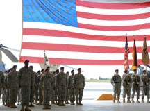 ANSBACH, Germany (July 21, 2015) -- Soldiers from the 412th Aviation Support Battalion, 12th Combat Aviation Brigade, stand in formation during the unit's inactivation ceremony at Katterbach Army Airfield in Ansbach, Germany, July 21, 2015. The unit is inactivating due to the U.S. Army's Aviation Restructuring Initiative, which is designed to reorganize and reposition aviation assets across the Army. (U.S. Army photo by Spc. Nicholas Redding, 12th CAB)