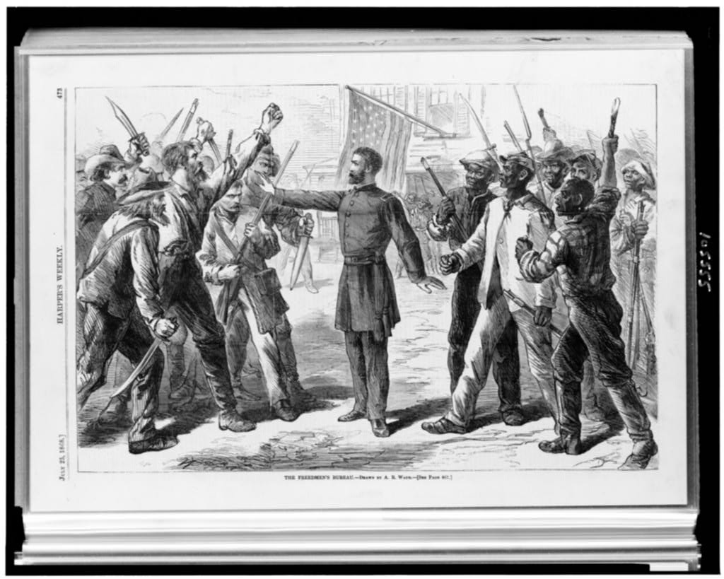 """An illustration in the July 25, 1868, """"Harper's Weekly"""" shows a man representing the Freedmen's Bureau standing between armed groups of whites and blacks. (Courtesy of the Library of Congress)"""