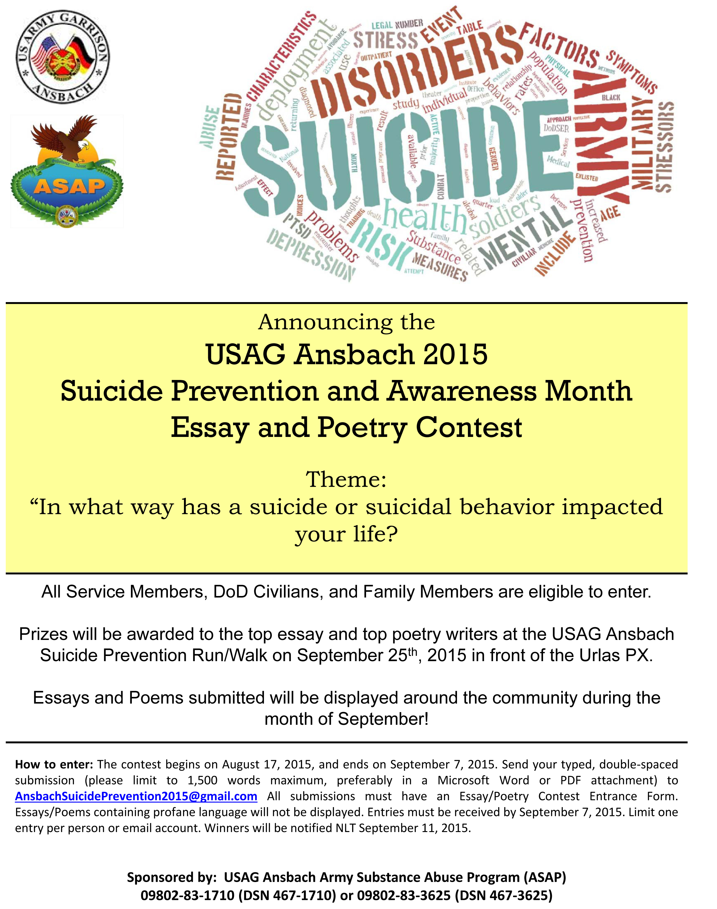 Asap Hosts Suicide Prevention Month Poetryessay Contest  Ansbach  Click Image To Enlarge