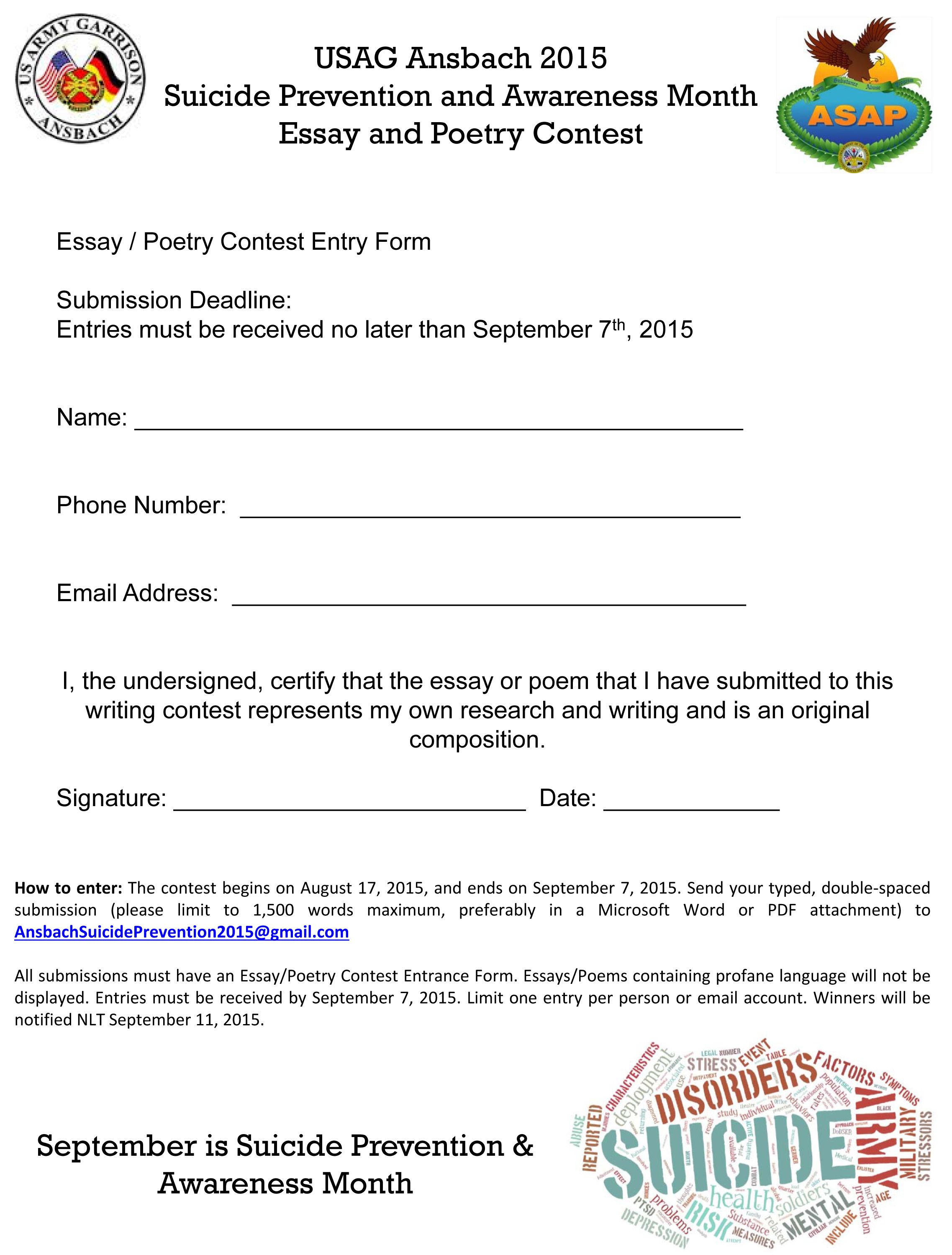 asap hosts suicide prevention month poetry essay contest ansbach  click image to enlarge