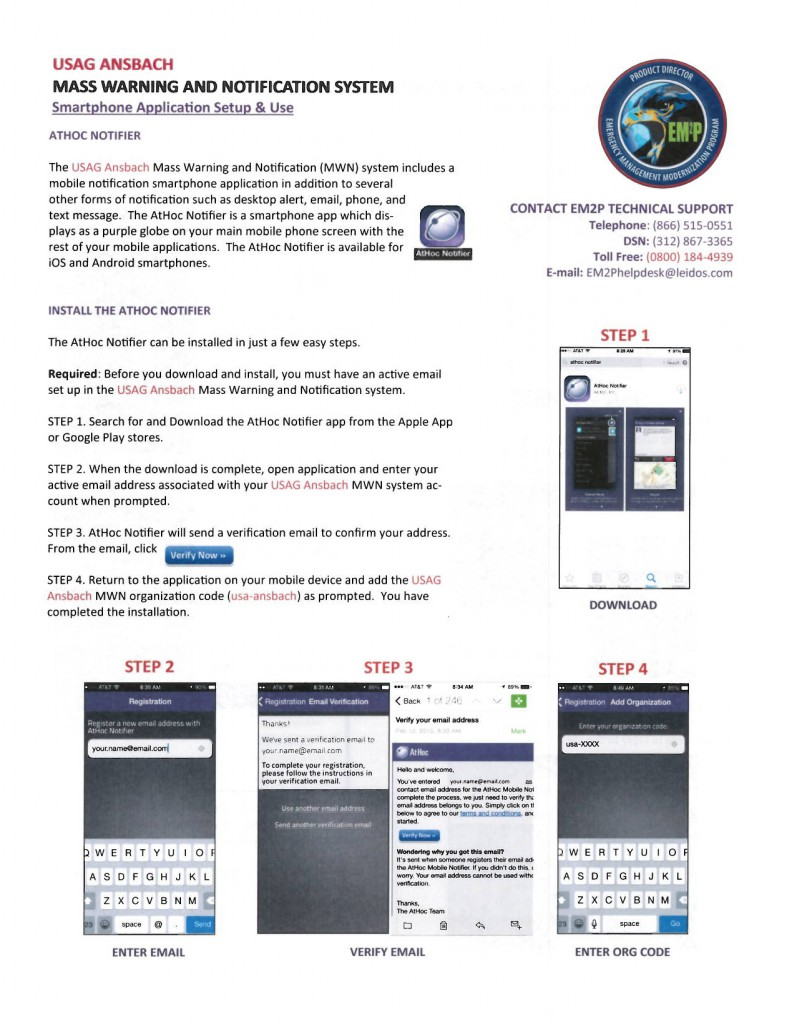 AtHoc Notifier smartphone app instructions
