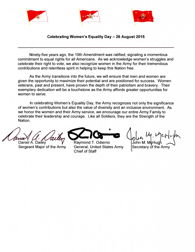 SA CSA SMA Tri-signed Celebrating Women's Equality Day - 26 August 2015