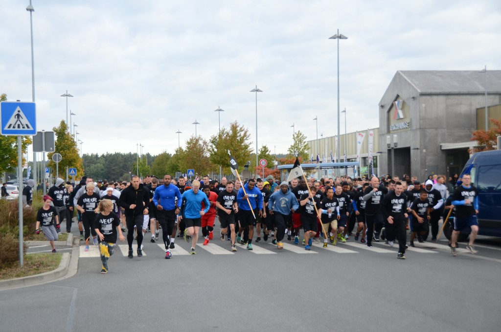 ANSBACH, Germany (Sept. 29, 2015) -- Runners and walkers take to the streets of Urlas at the start of the USAG Ansbach Suicide Prevention Month 3K Walk/Run held Sept. 25. (U.S. Army photo by Stephen Baack, USAG Ansbach Public Affairs)