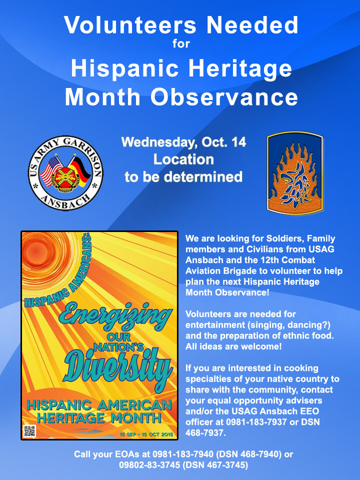 Volunteers needed for Ansbach Hispanic Heritage Month Observance