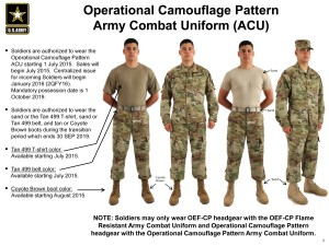 The Operational Camouflage Pattern will be available for purchase in select military clothing sales stores beginning, July 1, 2015. (Photo courtesy of PEO Soldier)
