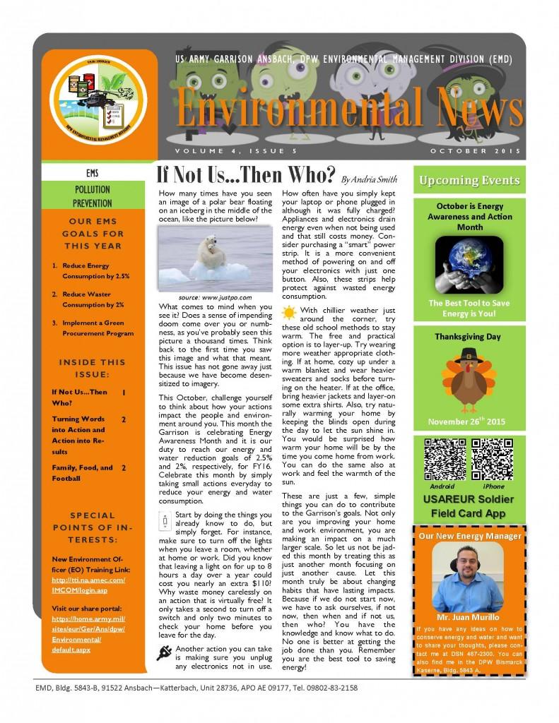 Environmental Newsletter – October 2015