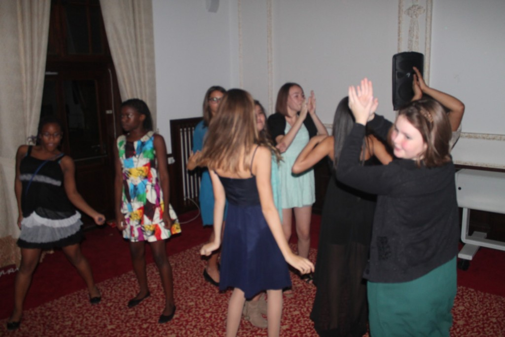 Ansbach Middle School students dance during their homecoming. (Photo by Nancy Dauber, Ansbach Middle/High School yearbook teacher)