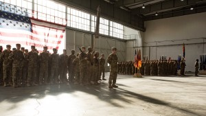 Soldiers stand in formation during a transfer of authority ceremony after a nine-month rotation. The 4-3 Brawlers transferred its responsibility to the 3-227th from Fort Hood, Texas. The rotation for these Soldiers is expected to last about nine months. (U.S. Army photo by Cpt. Jaymon Bell, 12th CAB Public Affairs)