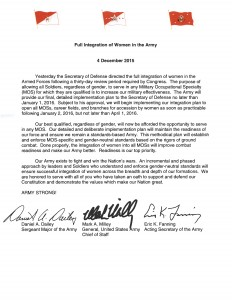 Army tri-signed letter: Full Integration of Women in the Army