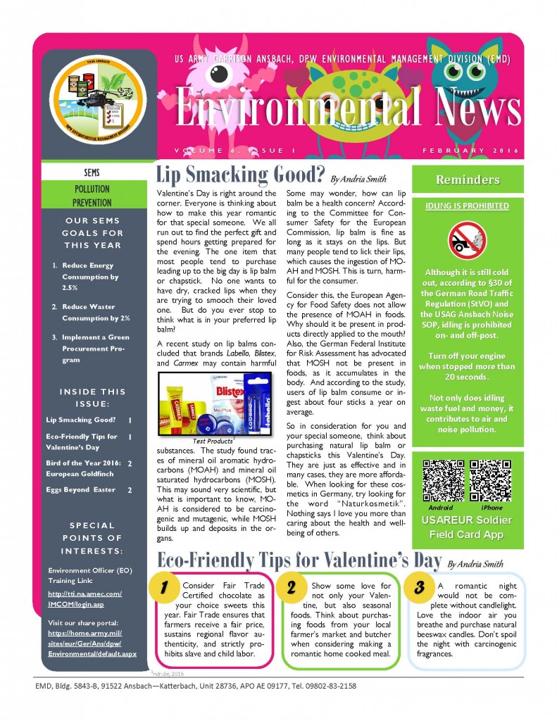 Environmental Newsletter – February 2016