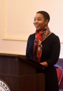 Kimberly Turnage, human resources specialist from the U.S. Army Garrison Ansbach Civilian Personnel Advisory Center, serves as keynote speaker for USAG Ansbach's Black History Month observance at the Von Steuben Community Center Feb. 25, 2016. (U.S. Army photo by Stephen Baack, USAG Ansbach Public Affairs)