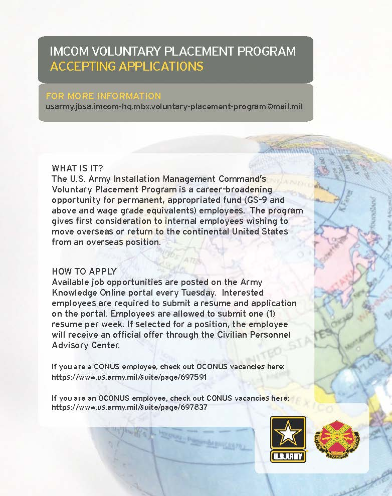 IMCOM Voluntary Placement Program accepting applications - Ansbach ...