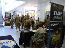 In this U.S. Army file photo, Soldiers sign up as they arrive to the rodeo at USAG Ansbach in 2016. USAG Ansbach is scheduled to hold its 2017 Total Army Sponsorship Rodeo April 26 from 9 a.m. to noon at the Katterbach Fitness Center. (U.S. Army photo by Bryan Gatchell, USAG Ansbach)