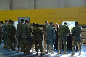 Michele Begosh, U.S. Army Europe program manager, speaks to Soldiers about sponsorship.