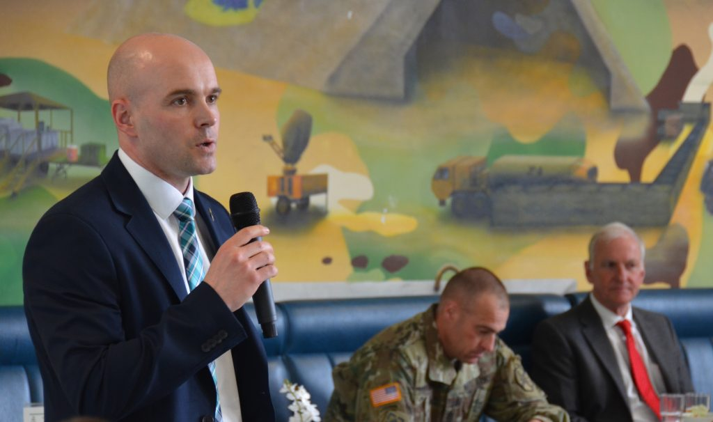 Richard Fry, U.S. Army Garrison Ansbach Sexual Assault Response Coordinator, speaks at the Teal Meal.