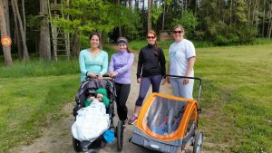 Members of the newest running group at U.S. Army Garrison Ansbach prepare to head out on a stroller-friendly run through the German forest. (Courtesy photo by Heather Luna)