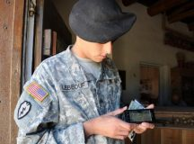 In this U.S. Army file photo, a Soldier uses a smartphone. Remember, the U.S. Army has not authorized any common access card readers for smartphones.