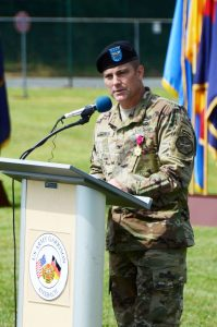 Col. Christopher M. Benson, outgoing commander of USAG Ansbach