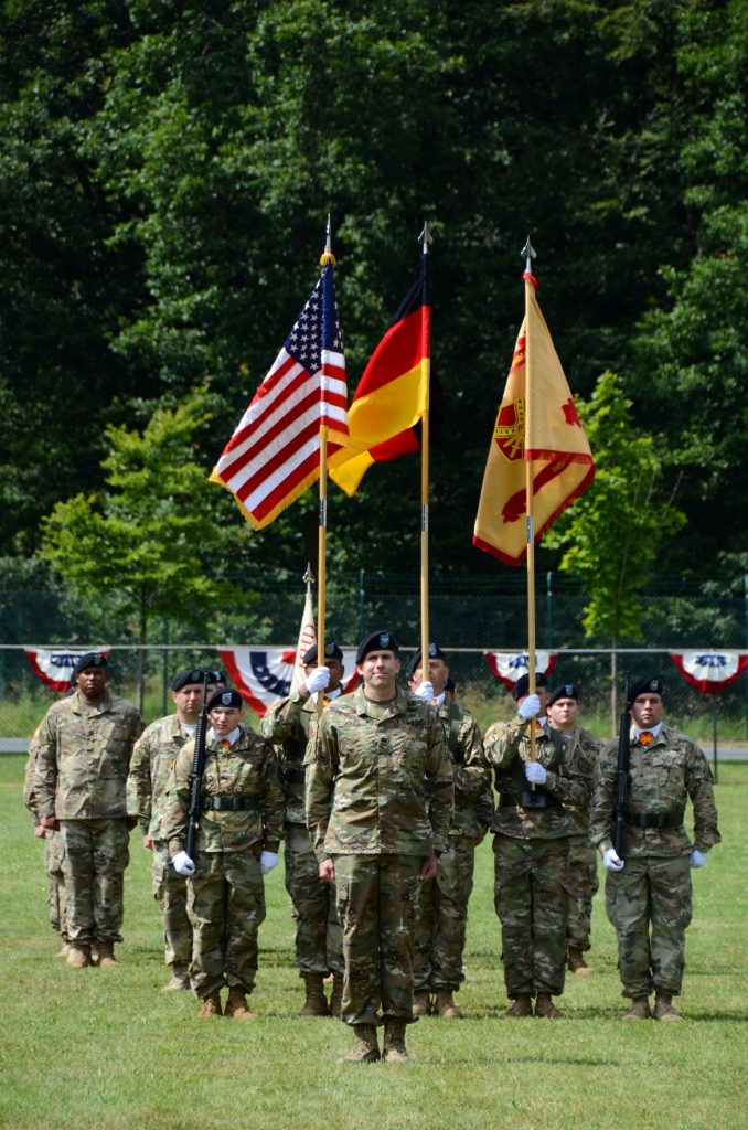Col. Benjamin C. Jones, U.S. Army Garrison Ansbach commander, stands at the head of the colorguard formation.
