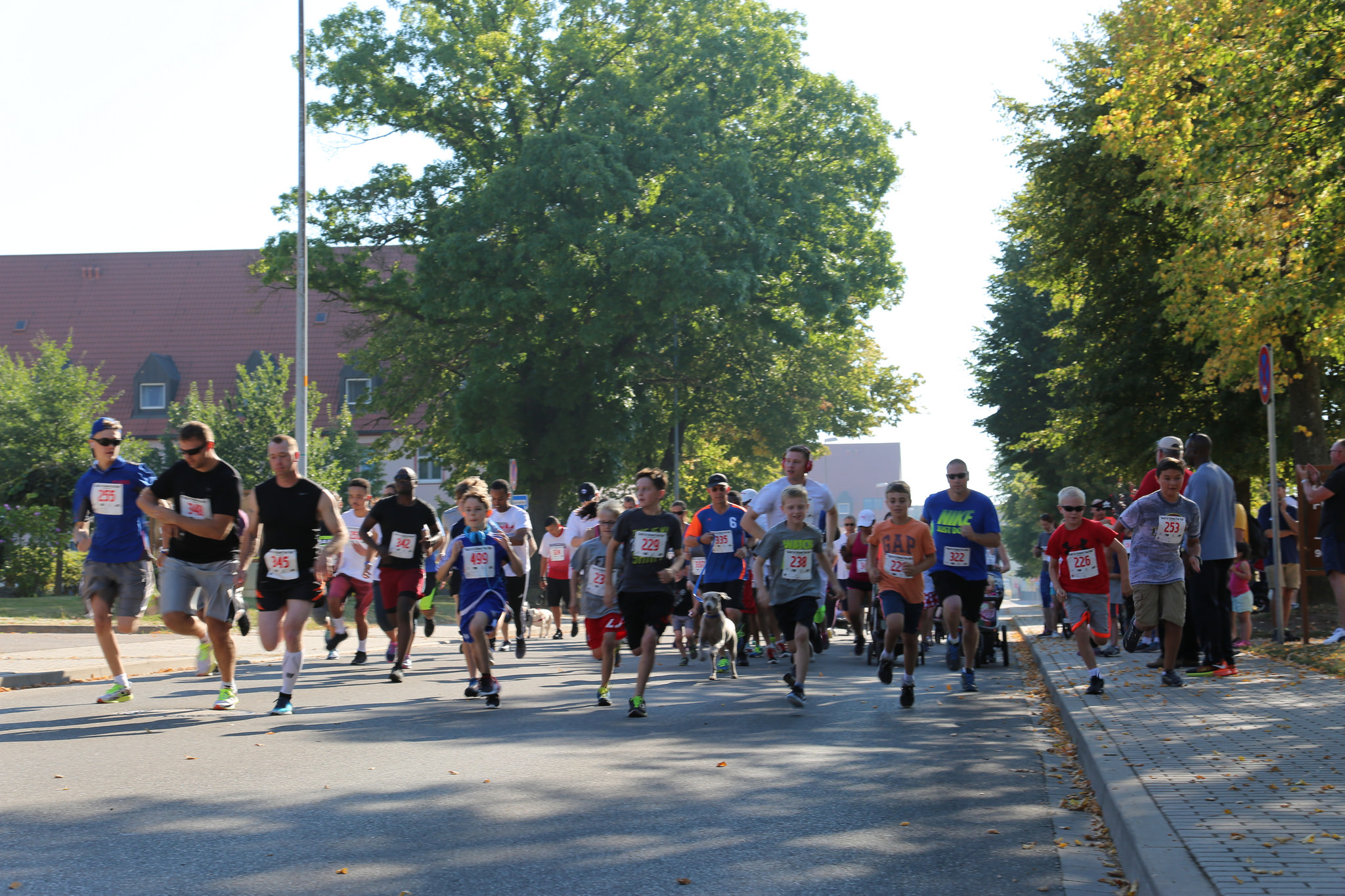U.S. Army Garrison Ansbach community members begin the five-kilometer Back-to-School Fun Run.