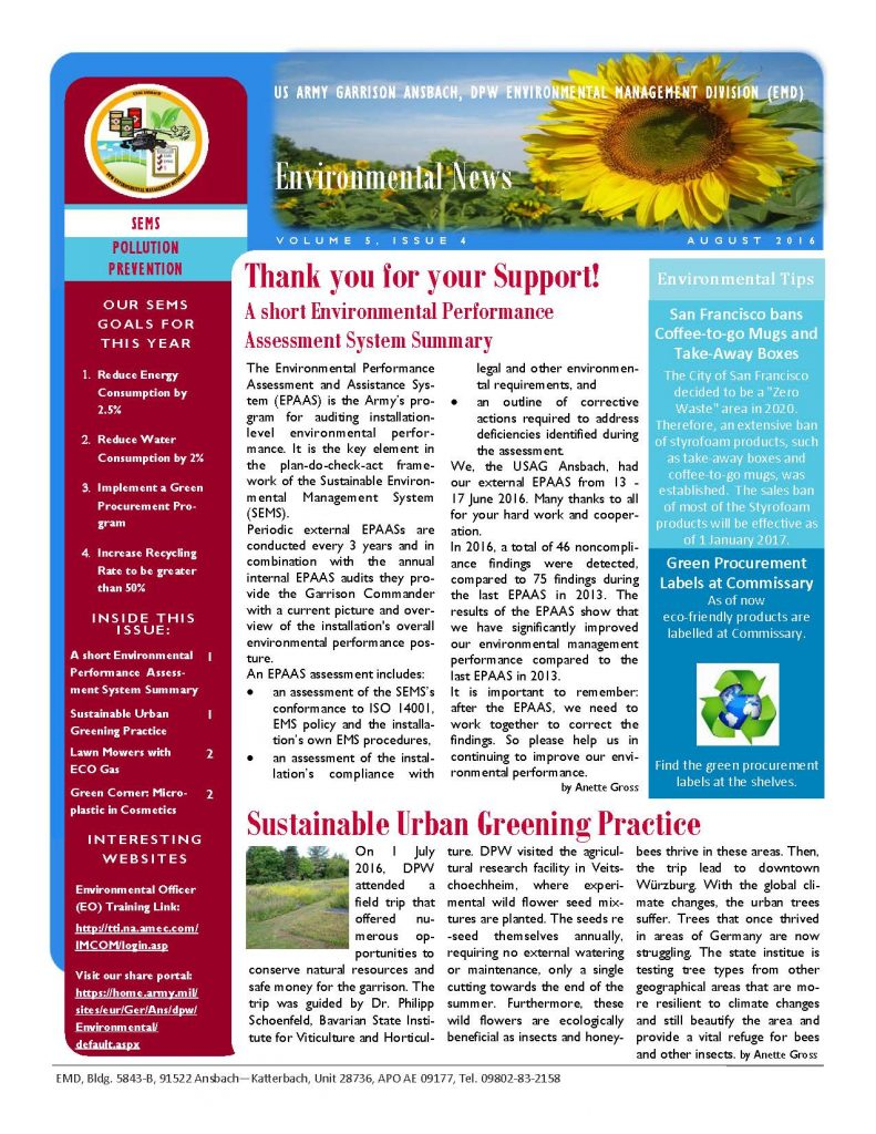 Environmental Newsletter – August 2016