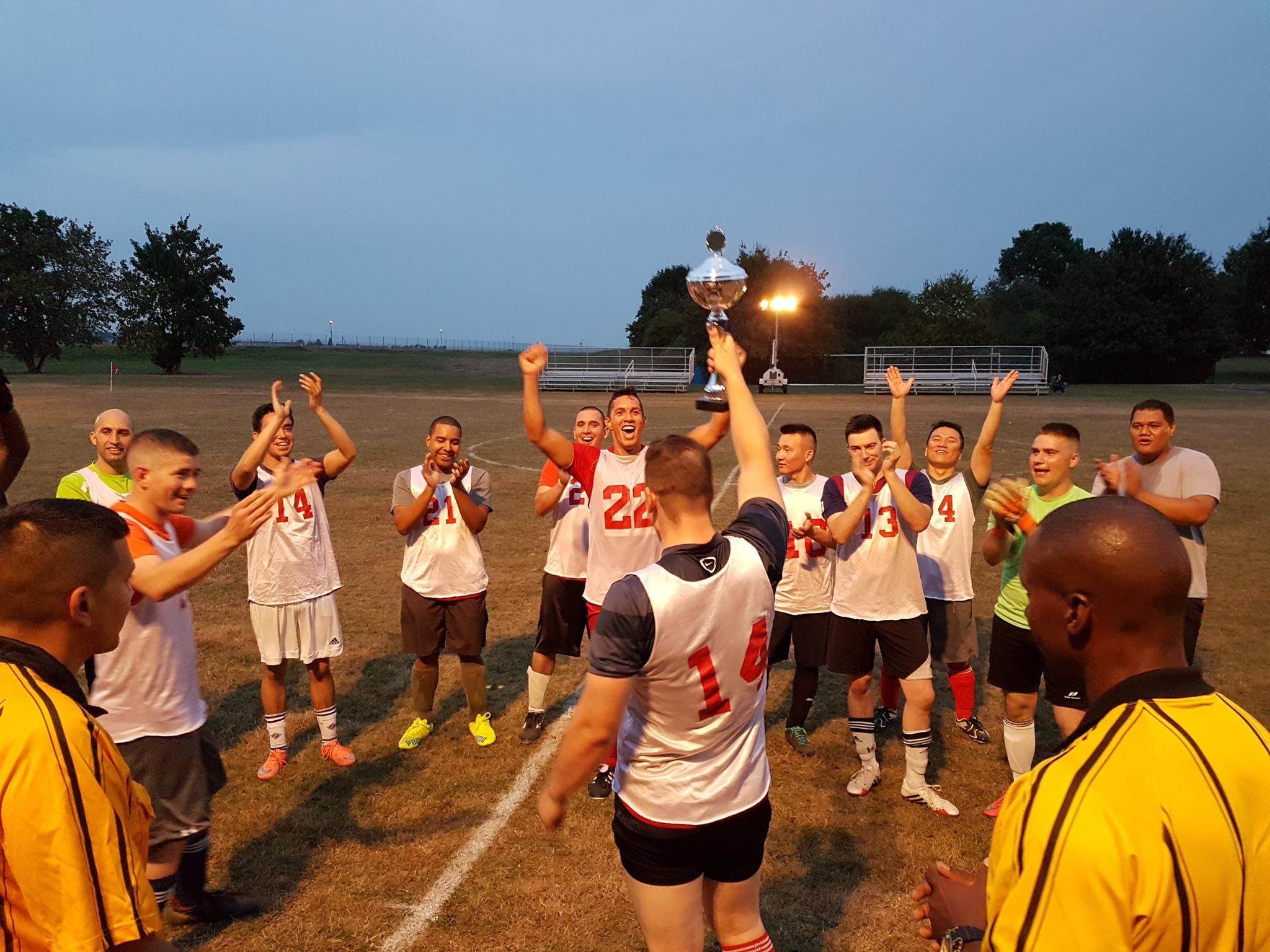 Soccer players from 5th Detachment cheer after winning the U.S. Army Garrison Ansbach Unit Level Soccer Championship Sept. 15 at Katterbach Kaserne (Photo courtesy of Sgt. Robert Ramirez, H Company, 1st Battalion, 214th Aviation Regiment (General Support / VIP Fixed Wing))