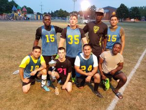 Soccer players from H Company, 1st Battalion, 214th Aviation Regiment (General Support / VIP Fixed Wing), pose for a photo following the USAG Ansbach Unit Level Soccer Championship game. (Photo courtesy of Sgt. Robert Ramirez, H Company, 1st Battalion, 214th Aviation Regiment (General Support / VIP Fixed Wing))
