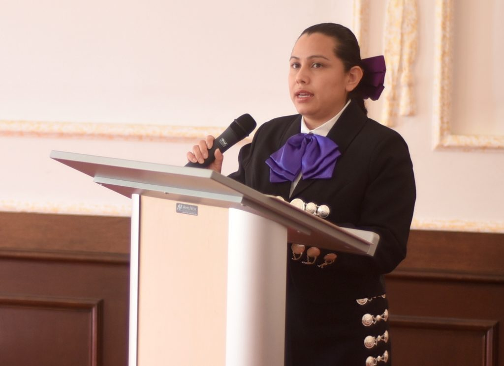 Sgt. 1st Class Maria A. Castillo, Ansbach chapel noncommissioned officer-in-charge, serves as the keynote speaker during U.S. Army Garrison Ansbach's observance of National Hispanic Heritage Month Sept. 22, 2016, at Bismarck Kaserne in Ansbach, Germany. (U.S. Army photo by Stephen Baack, USAG Ansbach Public Affairs.)