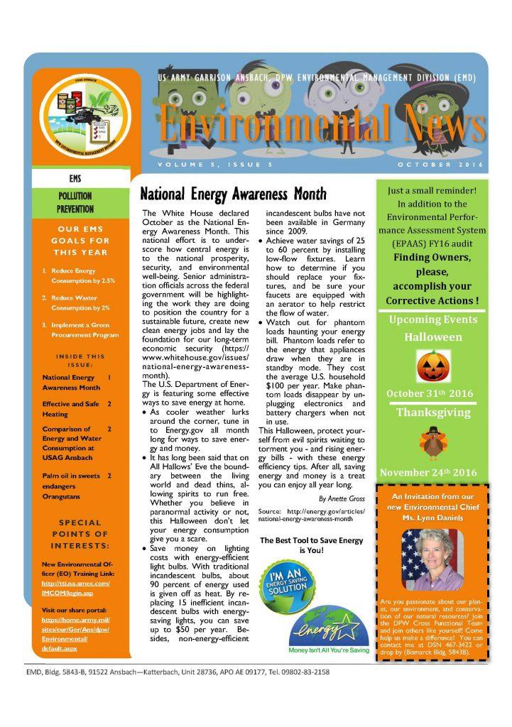 Environmental Newsletter – October 2016