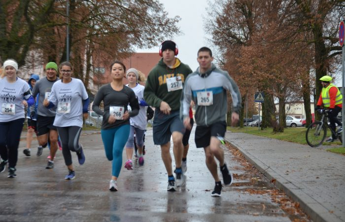 Community members of U.S. Army Garrison Ansbach begin the Turkey Trot the Saturday before Thanksgiving. The top male and female finishers received a turkey for their speed and perseverance.