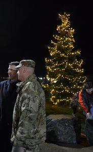 U.S. Army Garrison Ansbach commander Col. Benjamin C. Jones, left, talks with USAG Ansbach Command Sgt. Maj. Derek R. Cuvellier following a tree lighting at the Katterbach boardwalk.