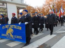 The 9th Junior Reserve Officer Training Corps marches in the Armistic Day parade in Chateau Thierry, France, Nov. 11. (Photo by Dominik Moss, 9th JROTC)