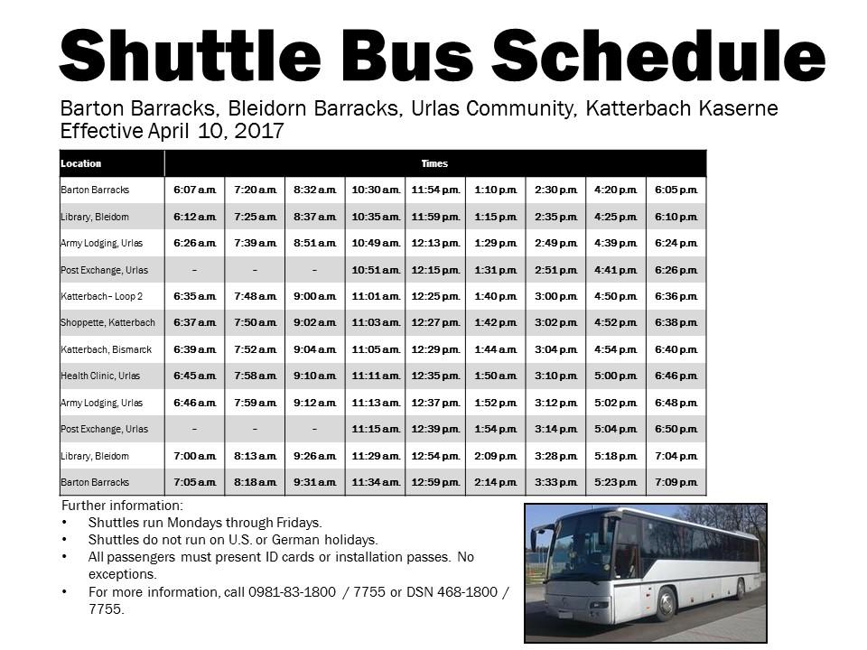 Shuttle Bus Schedule Ansbach Hometown Herald