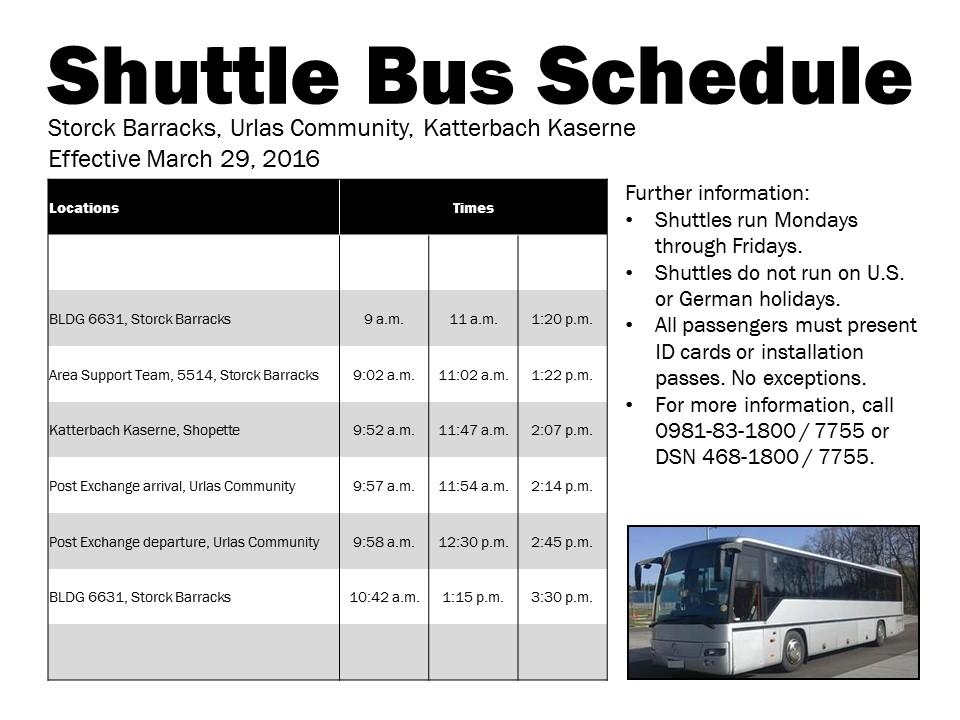 illesheim shuttle bus schedule revised 28 mar 17 ansbach hometown