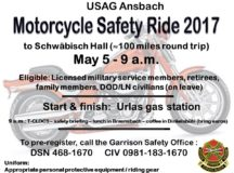 Flyer for the USAG Ansbach Motorcycle Safety Ride for 2017