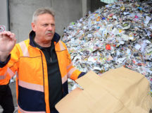 Ernst recycling supervisor Manfred Ortner, center, serves as tour guide during a USAG Ansbach environmental field trip to a waste sorting facility in Markt Berolzheim, Germany, April 28, 2017. (U.S. Army photo by Stephen Baack, USAG Ansbach Public Affairs)