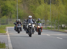 USAG Ansbach community members roll out on their motorcycles as part of the Installation Safety Office's rally and ride.