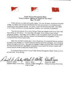 Army tri-signed letter: Public Service Recognition Week