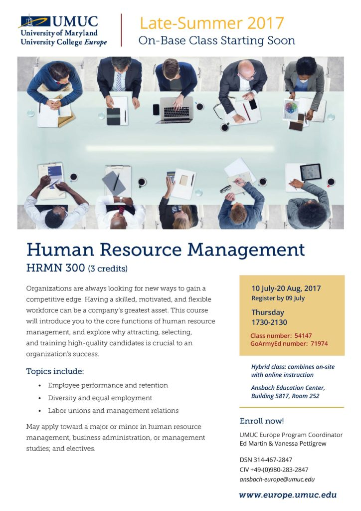 Register by July 9 for UMUC's Human Resource Management onsite class