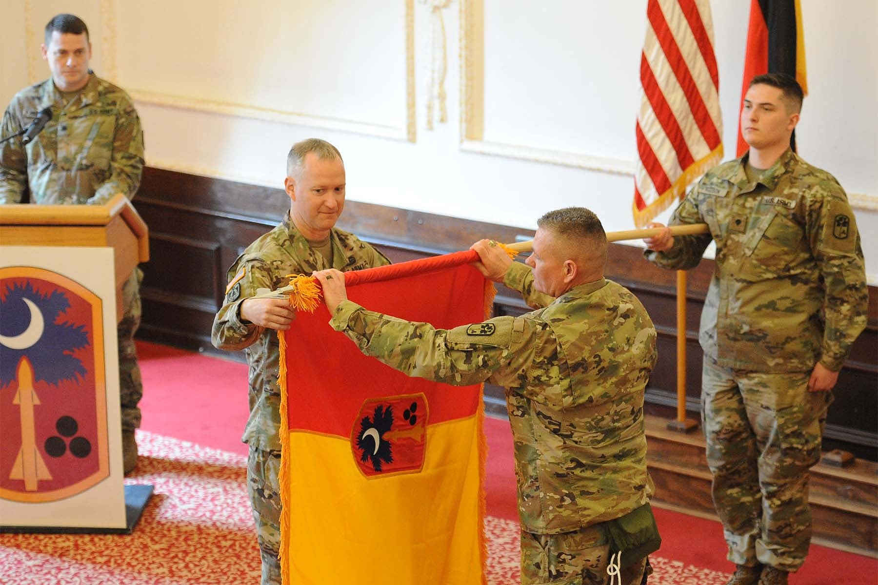 678th Air Defense Artillery Brigade uncases colors in Ansbach, Germany