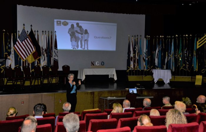 Lynn Daniels, USAG Ansbach's environmental expert, briefs community members during the recent town hall Sept. 13, 2018
