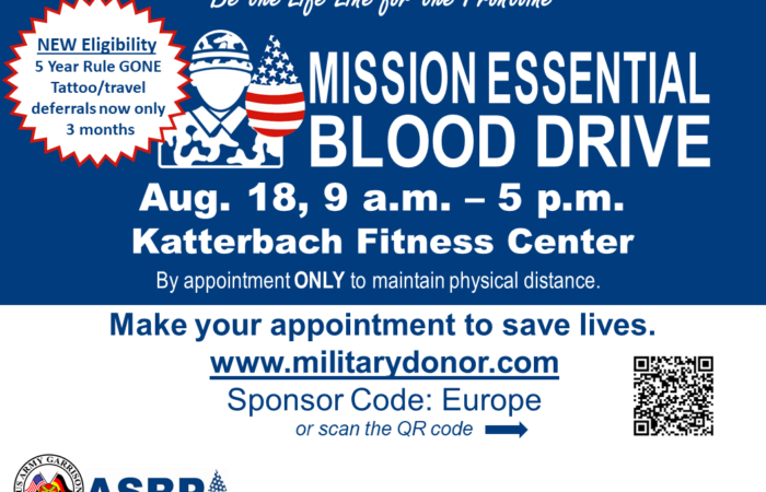Newly eligible and repeat blood donors needed to support warfighters Aug. 18