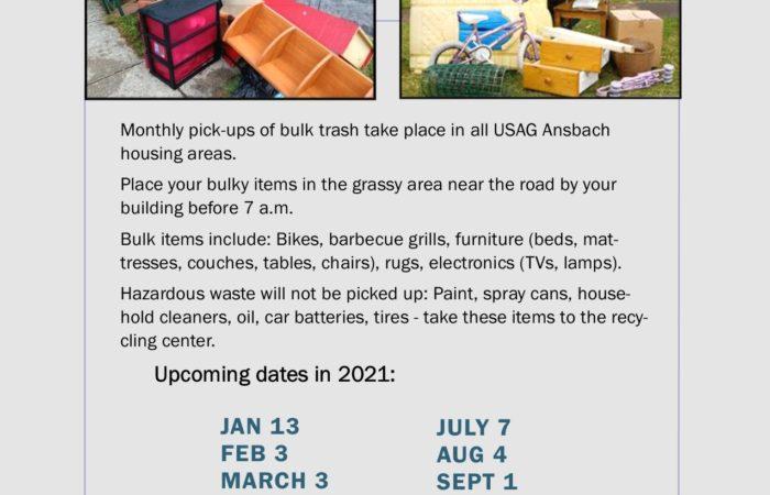 Monthly bulk waste pick-up schedule 2021